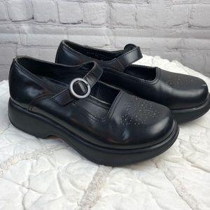 Dansko.  Black leather Mary Janes. 36